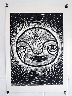Jen - Third Eye Woodcut Print